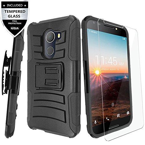 T-Mobile REVVL Case, Alcatel A30 FIERCE / Alcatel A30 Plus / Alcatel Walters Case With Tempered Glass Screen Protector,IDEA LINE(TM) Combo Holster Kickstand Belt Clip - Black