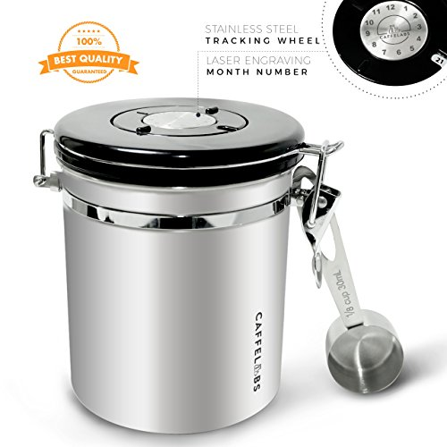 Coffee Canisters Stainless Steel 16oz | Airtight Coffee Container Built-in One Way Gas Valve Block CO2 - FREE SCOOP worth $7.99 | Premium Quality Coffee Storage |