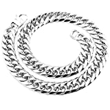 Mens Stainless Steel Silver Tone 7-40 inch 21MM Curb Link Chain Necklace