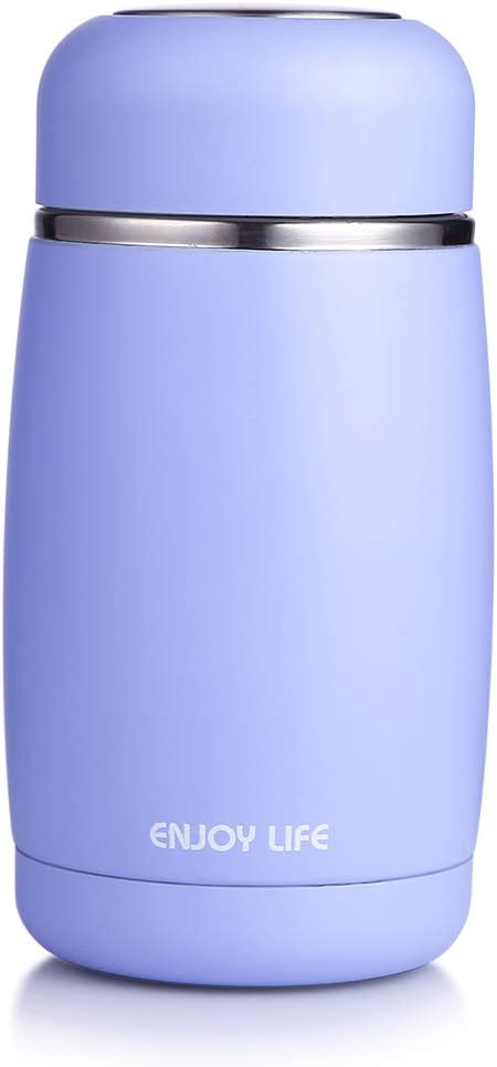 JIAQI Small Insulated Water Bottle BPA Free, 10 oz Double Wall Stainless Steel Travel Coffee Mug, Leak Proof Flask for Kids/Children/Adults, Blue