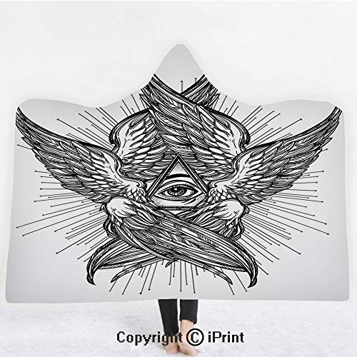 "Eye 3D Print Soft Hooded Blanket Boys Girls Premium Throw Blanket,All Seeing Eye of Providence Hand Drawn Vintage Style Winged Angel Seraphim Inspired Decorative,Lightweight Microfiber(Kids 50""x60"")Bl"