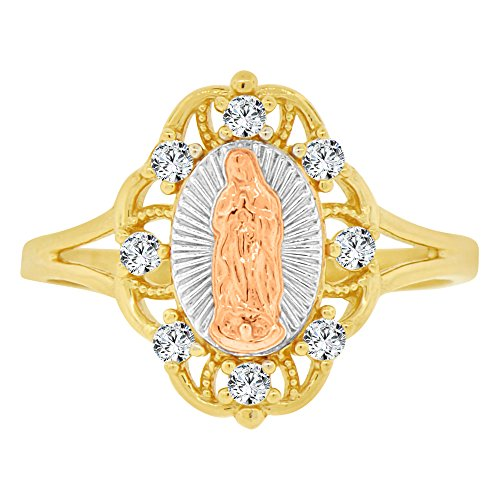 14k Tricolor Gold, Filigree Oval Virgin Mother Mary Ring Created CZ Crystals