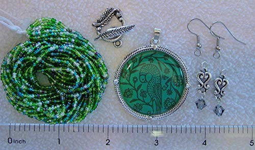 Assorted Czech Glass Green Seed Beads Bird Focal Pendant Clasp Earring Findings ()