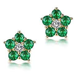 Diamond Emerald Hoop Earrings Studs for Women