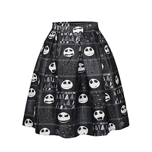 ZIOOER Women's Elastic Waistband Digital Print Flared Pleated Casual Skirt Black