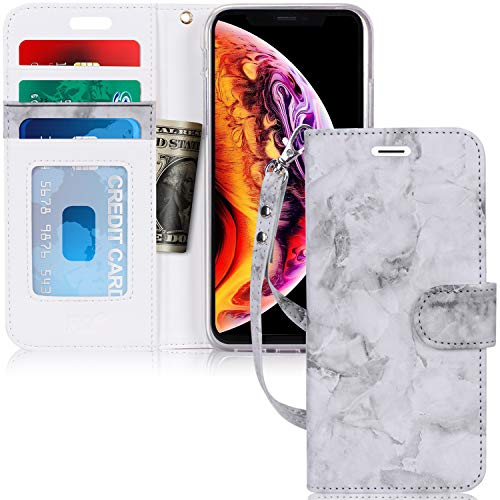 """FYY Case for iPhone Xs Max (6.5"""") 2018, [Kickstand Feature] Luxury PU Leather Wallet Case Flip Folio Cover with [Card Slots] [Wrist Strap] for Apple iPhone Xs Max (6.5"""") 2018 Grey"""