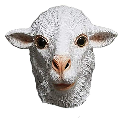 White Goat Mask Sheep Mask Latex Animal Head Disguise Halloween Costume Cosplay -