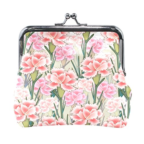 Ethel Ernest Pink Carnation Flowers Coin Wallets Mini Purse for Womens - Carnation Wallets Travel Pink
