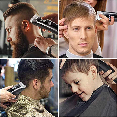 Professional Hair Clippers Set for Men, Facial and Mustache Trimmers, Cordless Electric Haircut Kit with Gear Adjustment, Security Lock and LED Display by Aiskki (Image #6)
