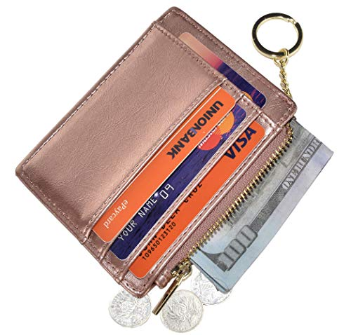 Womens Slim RFID Credit Card Holder Mini Front Pocket Wallet Coin Purse Keychain (Oil Rose Gold)