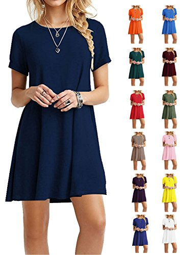TOPONSKY Women's Casual Plain Short Sleeve Simple T-shirt Loose Dress Navy Blue,Large,