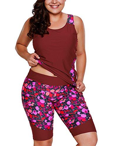 Foryingni Women's 2 Piece Plus Size Floral Tankini Swimsuit with Bermuda shorts XL - Shorts Women's Swim Bermuda