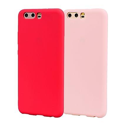 Funda HuaWei P10, 2Unidades Carcasa HuaWei P10 Silicona Gel, OUJD Mate Case Ultra Delgado TPU Goma Flexible Cover para HuaWei P10 - Rosa + rojo