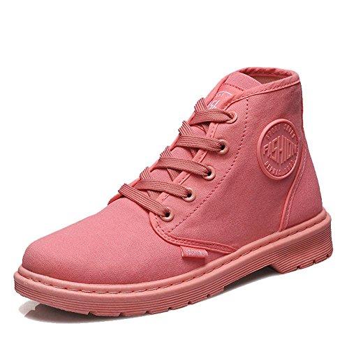 BLACK donne sport caviglia alla con piatto 35 caldo scarpe casual Martin laccio tacco PINK di tela Short stivali 37 q8ZrPq