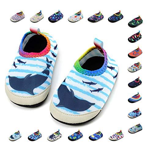 Panda Software Baby Boys Girls Water Shoes Infant Barefoot Quick -Dry Anti- Slip Aqua Sock for Beach Swim Pool Stripe-Dolphin/18-24 Months M US Infant
