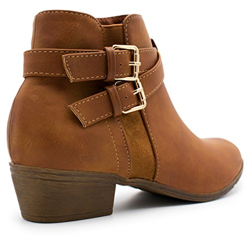 Premier-Standard-Womens-Strappy-Buckle-Closed-Toe-Bootie-Low-Heel-Casual-Comfortable-Walking-Boot