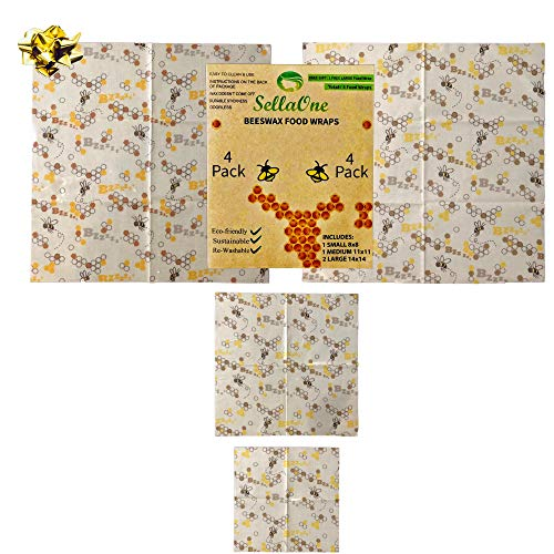 Beeswax Wrap by SellaOne - Plastic Free, Sustainable and Biodegradable Reusable Eco Friendly Food Wrap | Assorted 4 Pack | 1 Small 8x8 | 1 Medium 11x11 | 2 Large 14x14 | Organic Beeswax Wraps