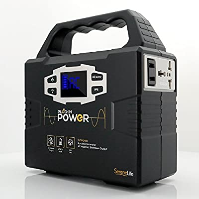 Rechargeable Battery Portable Power Generator - 150-Watt Solar Panel Compatible, Dual USB Device Charge Ports, Digital LED Display Panel - Works with Phones, Tablets & Laptops - SereneLife SLSPGN10