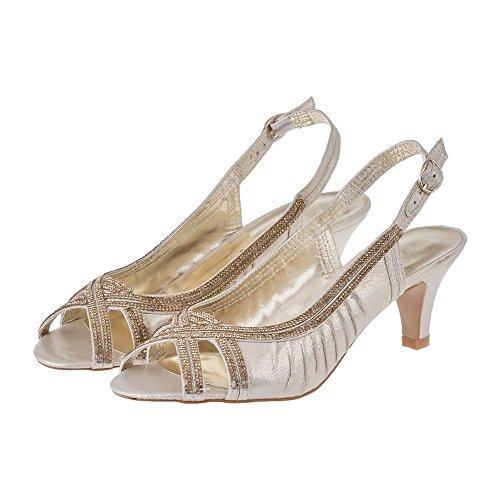 Con Zapatos Diva Mujer Miss Dorado Tacón qHAwgE8