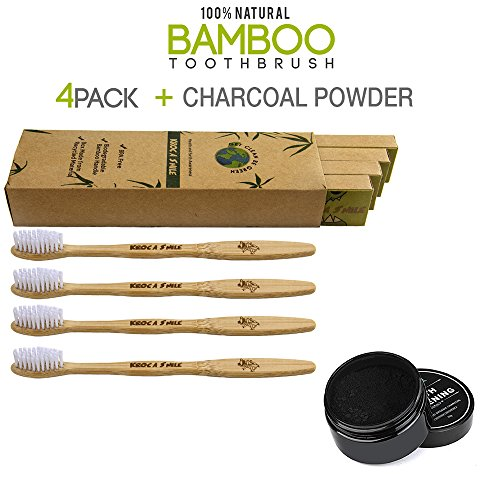 Natural Bamboo Toothbrush 100% Organic and Biodegradable, Soft BPA Free Bristles PLUS Teeth Whitening Activated Charcoal Powder - Humble Mall