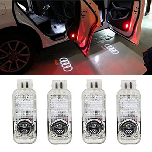 AMINEY 4 Pcs Door Light Car Vehicle Ghost LED Courtesy Welcome Logo Light Lamp Shadow Projector For AUDI, Easy Installation ...