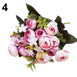 hwangli Artificial Fake Flower Wedding Bridal Party Home Decor | 1 Bouquet 5 Branches Dark Pink 17