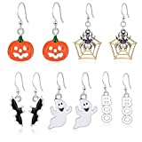 #10: Miraculous Garden Halloween Theme 5 Pairs Drop Dangle Earrings Sets Including Halloween Spider Web Pumpkin Ghost Bat Boo Halloween Earrings for Women Girls