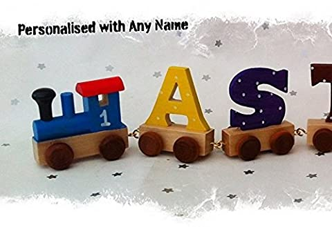 Personalised Wooden Toy Train & Letters - Coloured Carriages - Hand Painted & Personalised with Name by Yorkshire Craft - Hand Painted Train Toy