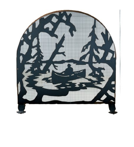 Meyda Tiffany Fireplace Screen - Canoe at Lake Arched 1 Panel Fireplace Screen