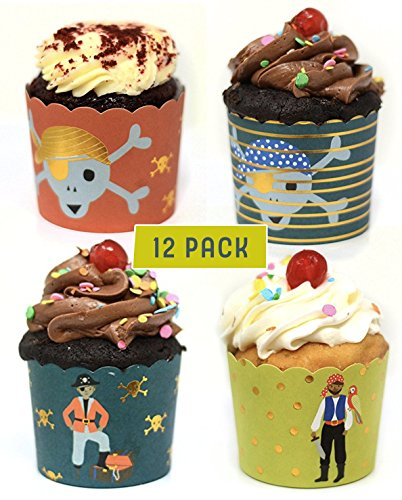 Pirate Cake Cups - Birthday Party Cupcake Liners - Pirate Themed Party Supplies - 3 Cups Per Design - 12 Cups Per Pack