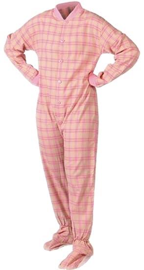 40b6edecde78 Adult Onesie Lightweight Cotton Flannel Footie Pajamas (XS