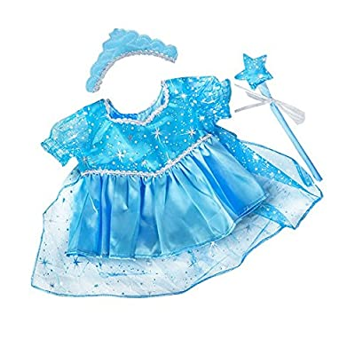 """8"""" Blue Snow Princess Dress Frozen ELSA Teddy Bear Outfit with Wand and Tiara FITS 8: Toys & Games"""