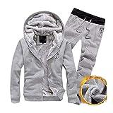 Winsummer Men's Hoodie Running Sweat Suit Full Zipper Jogging Tracksuit Jacket and Pants Athletics Sports Activewear Gray