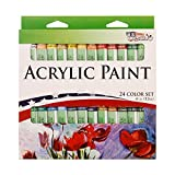 US Art Supply 12ml Acrylic Tube Artist Paint Set (24-Tubes)
