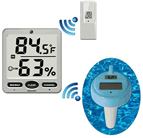 Ambient Weather WS-18 Wireless 8-Channel Floating Pool and Spa Thermometer with Remote Thermo-Hygrometer Spa Remote