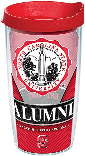 - Tervis 1222341 NC State Wolfpack Alumni Tumbler with Wrap and Red Lid, 16 oz - Tritan, Clear