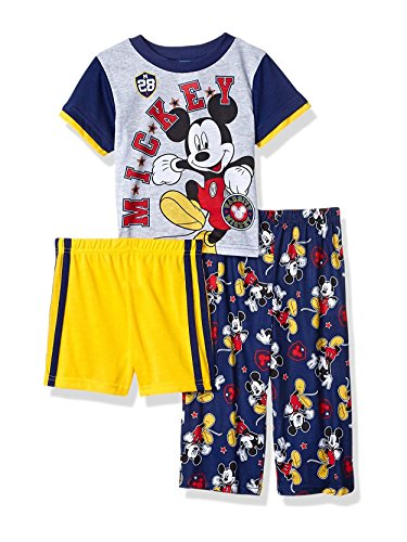 Disney Boys' Toddler Mickey Mouse 3-Piece Pajama Set, Navy, 2T