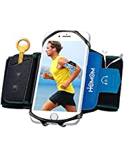 HLOMOM Running Phone Holder for iPhone 12/11/11 Pro/XR/XS/X/SE/8/8 Plus/7 Galaxy S20/S10/S9/S8 ,Note 20/10/9/8, 360°Rotatable with Key Holder Phone Armband for Running,Jogging,Hiking