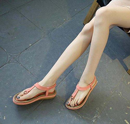 Eu Clip Sea 34 Women Strap Pump Elastic Slingback Ankel strap Sandals 42 Pink Shoes Roman Flat D'orsay Holidays Shoes Sweet Bohemian Toe T Casual Size FRqTR
