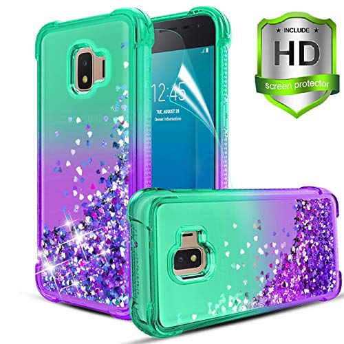 Compatible with Samsung Galaxy J2 Case/J2 Core/J2 Pure/J2 Dash/J2 Shine/J260 Case,w HD Screen Protector Quicksand Bling Sparkle Heart-shaped SequinTPU Bumper Shockproof Protective Case.Mint/Purple