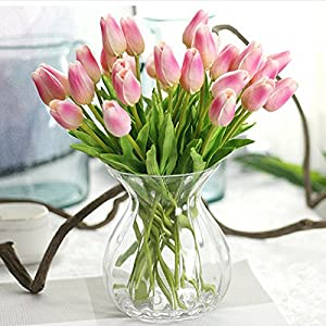 FYYDNZA 20Pcs/Lot Pu Tulips Artificial Flowers Real Touch Artificial For Decorate Mini Tulip For Home Decoration Wedding Flowers 63