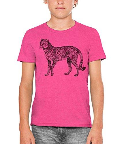Austin Ink Apparel Vintage Cheetah Engraving Unisex Kids Vintage Printed T-Shirt (Berry Pink, M) by Austin Ink Apparel