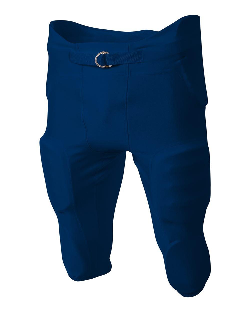 A4 Sportswear フットボールパンツ ハイエンド 吸湿 4方向ストレッチ 一体型 7パッドヒップ、膝、太もも&尻尾パッド Dリングベルト付き (7色/7サイズ) ネイビーブルー X-Large