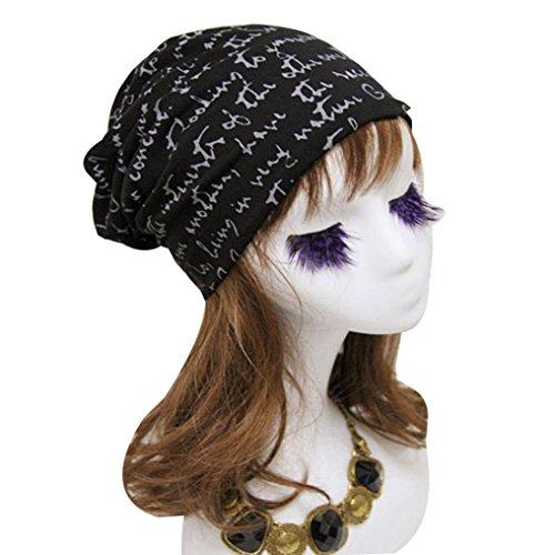Unisex Letter Print Hip-Hop Beanie Hat Baggy Ski Skull Cap (Black) (Lightweight Print Cap)