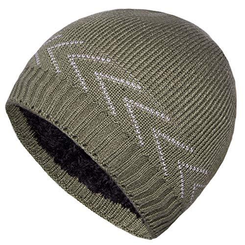 17233e22d33 YSense Mens Winter Hats Warm Knit Beanie Plain Fleece Lined Cuff Toboggan  Skull Cap