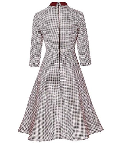 Bouton Coolred Womens Houndstooth Robe Élégante Millésime Rouge