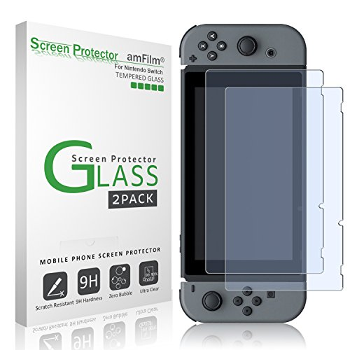 Buy cheap amfilm tempered glass screen protector for nintendo switch 2017 pack
