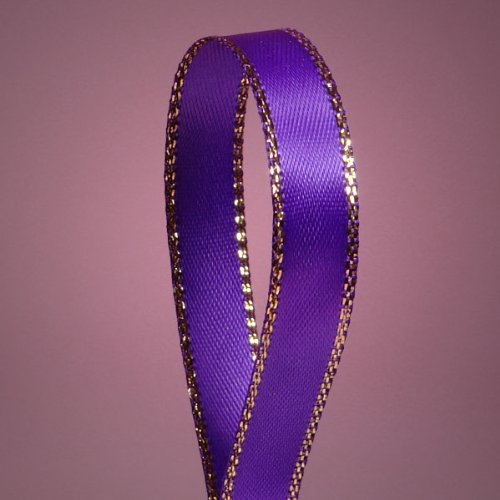Purple Satin Ribbon with Gold Edges, 3/8' X 50Yd