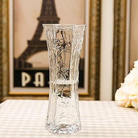 Joyousan Crystal Vase Flower Glass Vase Decorative Centerpiece For Home or Wedding 11.8inch height - Floral Etched Crystal