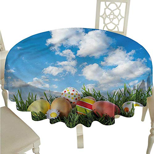 - ScottDecor Jacquard Tablecloth Easter,Eggs on Grass Open Skyline Christmas Tablecloth Round Tablecloth D 54